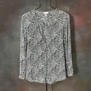 Joie Snakeskin Printed Silk Top Python Blouse